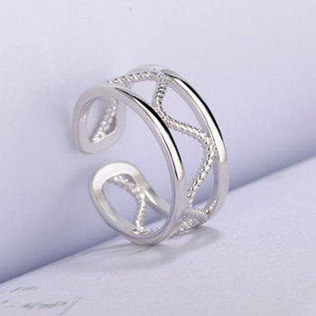 Twist Alloy Hollow Cuff Ring - SILVER WHITE