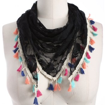 Colorful Tassel Lace Triangle Scarf