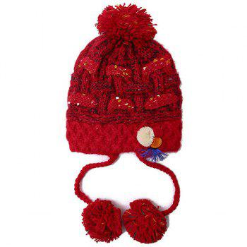 Warm Cirss Cross Knitted Colorful Ball Tassel Beanie - RED
