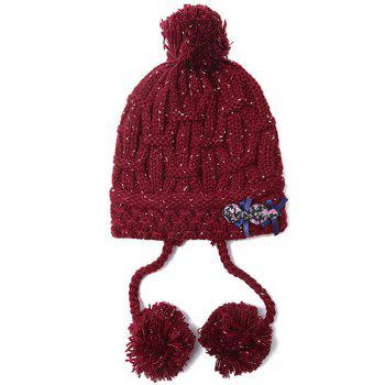 Warm Bowknot Pom Pom Ball Tassel Beanie - WINE RED