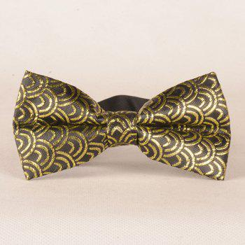 Simple Water Wave Print Embroider Bow Tie