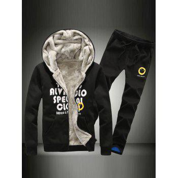 Zip Up Graphic Hoodie and Flocking Pants Twinset