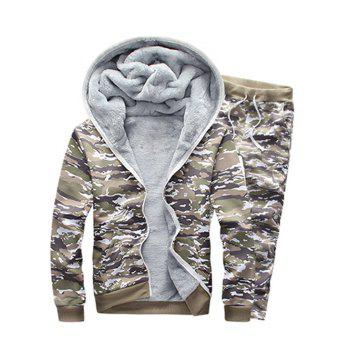 Flocking Zip Up Hoodie and Camo Pants Twinset