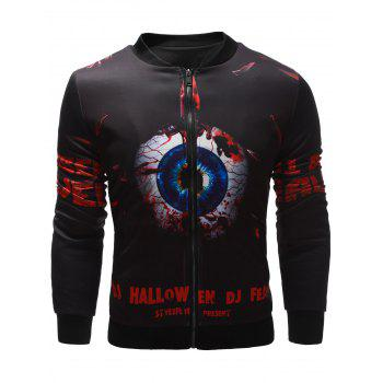 Stand Collar Zippered Halloween Jacket - BLACK XL