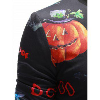 Zip Up 3D Pumpkin Face Printed Halloween Jacket - BLACK BLACK