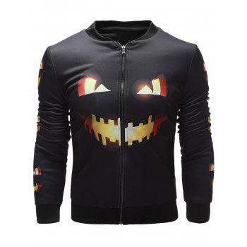 Pumpkin Face Printed Zip Up Halloween Jacket - BLACK XL