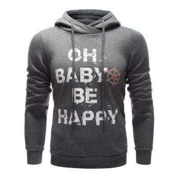 Buy Letter Printed Drawstring Pullover Hoodie GRAY