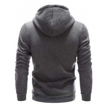 Letter Printed Drawstring Pullover Hoodie - GRAY GRAY
