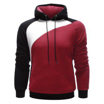 Side Pocket Contrast Paneled Pullover Hoodie