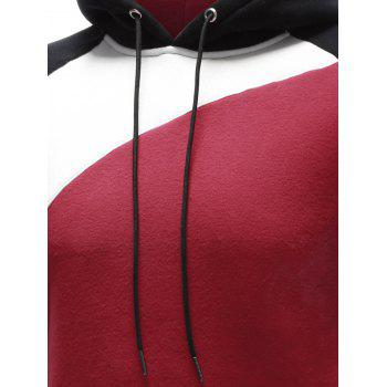 Side Pocket Contrast Paneled Pullover Hoodie - S S