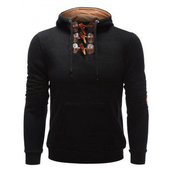Kangaroo Pocket Elbow Patch Toggle Hoodie - BLACK BLACK