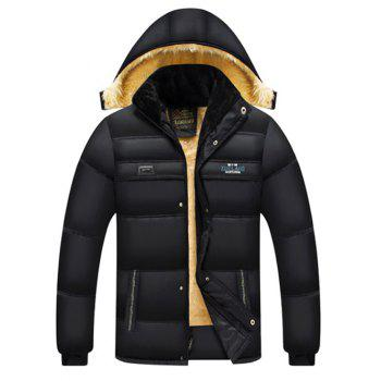 Flocking Elastic Cuff Zip Up Hooded Padded Jacket