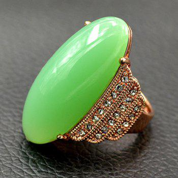 Artificial Gemstone Rhinestone Oval Ring