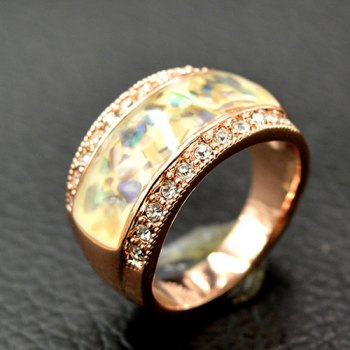 Natural Stone Insert Rhinestone Ring