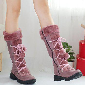Platform Zipper Pompoms Mid Calf Boots