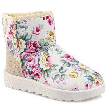 Colour Block Splicing Floral Print Snow Boots