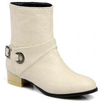 Buckle Strap PU Leather Short Boots