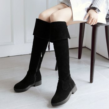 Flat Heel Tie Up Zipper Thigh Boots