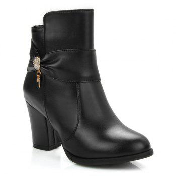 Zipper Metal Rhinesttones Ankle Boots