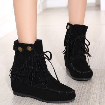 Hidden Wedge Stitching Weaving Ankle Boots