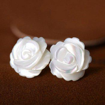 Engraved Rose Shape Stud Earrings
