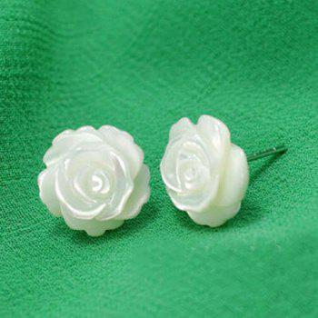 Engraved Rose Shape Stud Earrings - WHITE