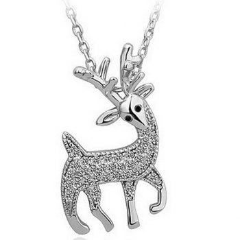 Rhinestone Fawn Shaped Pendant Necklace