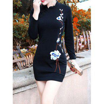 Floral Embroidered Cheongsam Bodycon Dress