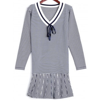 Flounce Striped Sweater Dress