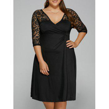 Lace Trim Embellished Surplice Club Dress