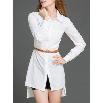 Slim  Fit  High Low Hem Shirt