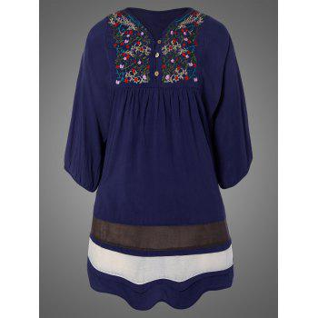 Plus Size Embroidered Bib Relaxed Dress