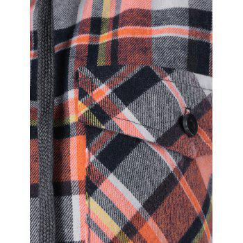 Button Up Flap Pockets Plaid Hoodie - CHECKED CHECKED