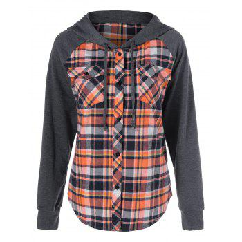 Button Up Flap Pockets Plaid Hoodie