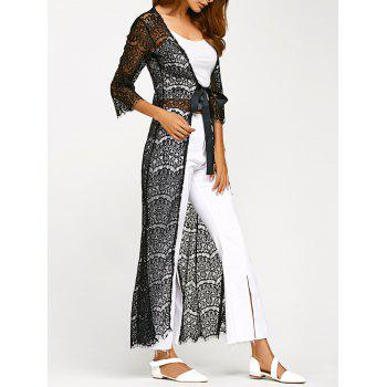 Ribbon Maxi Lace Cardigan