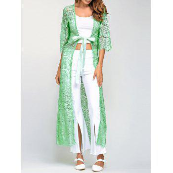 Ribbon Maxi Lace Long Cardigan - LIGHT GREEN ONE SIZE