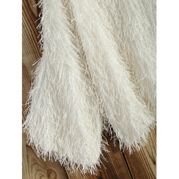 Novelty Faux Mohair Strip Crop Sweater - OFF WHITE OFF WHITE