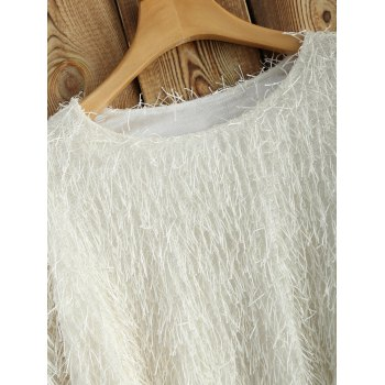Novelty Faux Mohair Strip Crop Sweater - ONE SIZE ONE SIZE