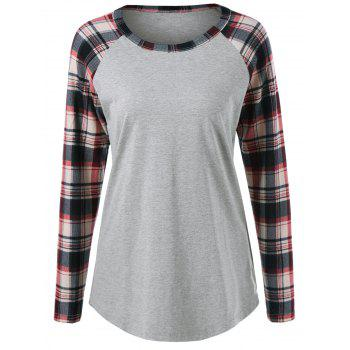 Plaid Trim Raglan Sleeve Tee - LIGHT GRAY XL