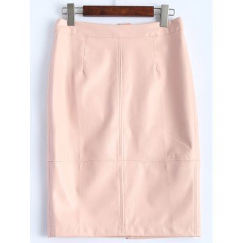 Faux Leather Pencil Skirt - PINK S