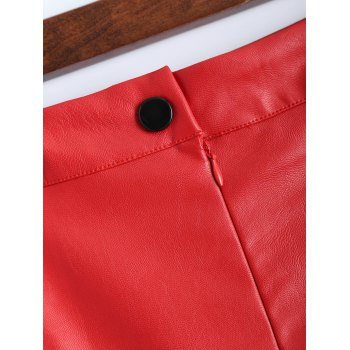 Faux Leather Pencil Skirt - BRIGHT RED BRIGHT RED