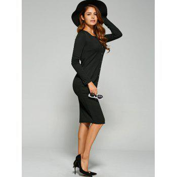 Long Sleeve Button Up Knit Sheath Dress - BLACK BLACK