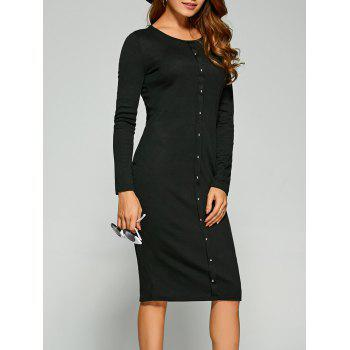 Long Sleeve Button Up Knit Dress