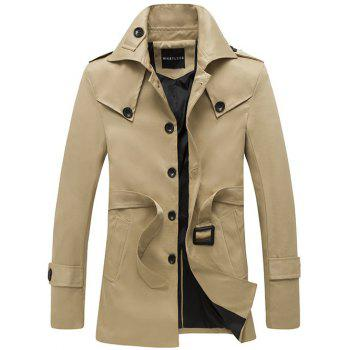 Single Breasted Epaulet Design Turndown Collar Coat