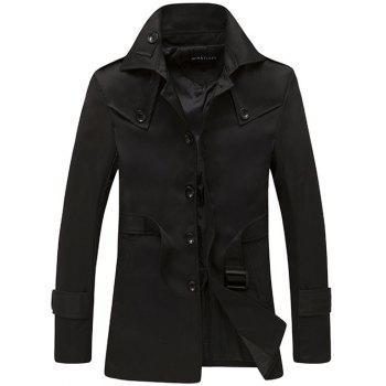 Buy Single Breasted Epaulet Design Turndown Collar Coat BLACK