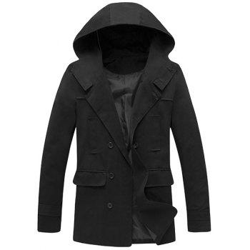 Double Breasted Hooded Back Slit Wind Coat