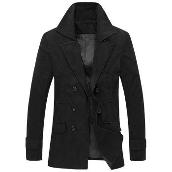 Double Breasted Slimming Turndown Collar Wool Coat
