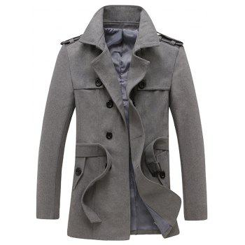 Turndown Collar Epaulet and Belt Design Woolen Coat