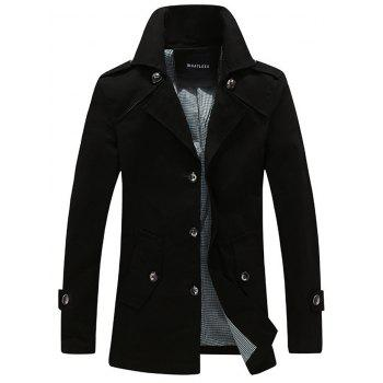 Turndown Collar Single Breasted Epaulet Embellished Wind Coat