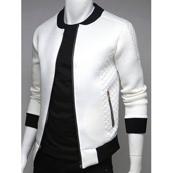 Stand Collar Argyle Splicing Zip Up Jacket - WHITE 2XL